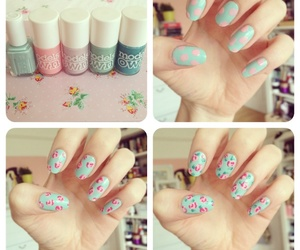 nails, vintage, and flowers image