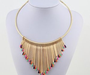gold, multi-colored, and necklace image