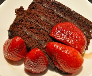 cake, strawberry, and chocolate image