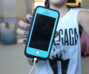 iphone, blue, and nails image