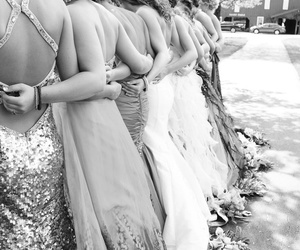 black and white, dresses, and friendship image