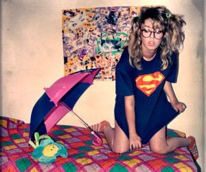 girl, hipster, and superman image