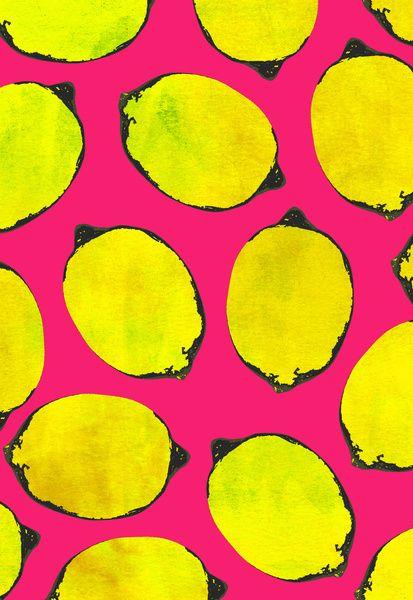 Lemon Pattern Art Print By Georgiana Paraschiv