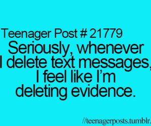 delete, Evidence, and messages image