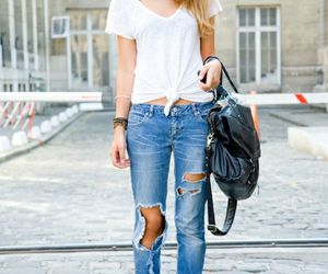 blue pants, white shirt, and :* image
