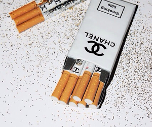 chanel, cigarette, and smoke image