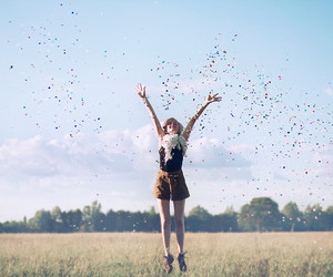girl, happy, and jump image