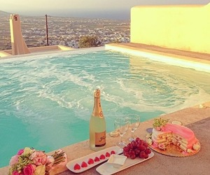 city, pool, and flowers image
