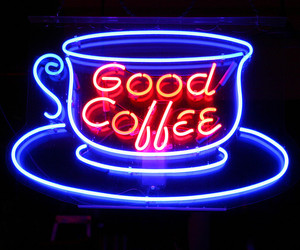 blue, coffee, and neon sign image