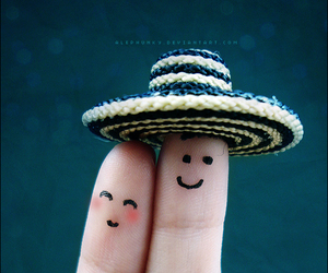 fingers, hat, and smile image