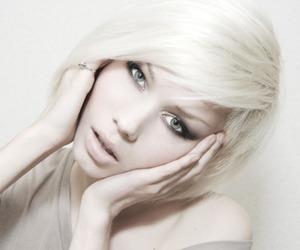 platinum hair, portrait, and white image