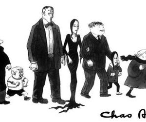 addams, black&white, and addams family image