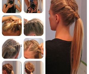 blond, trenzas, and hair image