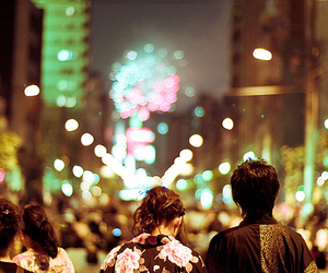 japan, couple, and fireworks image