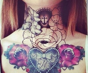 flowers, Tattoos, and neck tattoo image