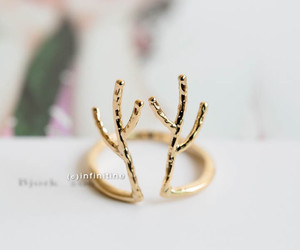 antlers, reindeer ring, and unisex ring image