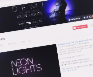 demi lovato, header, and neon lights image