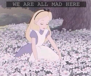 alice, mad, and flowers image