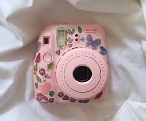 pink, camera, and stickers image