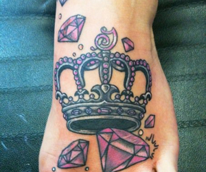 tattoo, crown, and diamond image