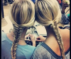 best friend, blonde, and fishtail image