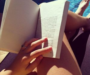 book, summer, and legs image