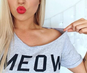 meow, blonde, and lips image