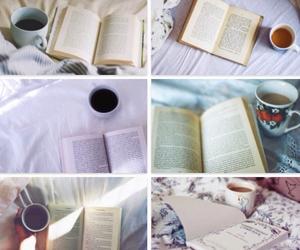 books, food, and coffee image