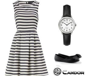black and white dress and watch and shoes image