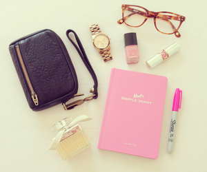 pink, glasses, and girly image