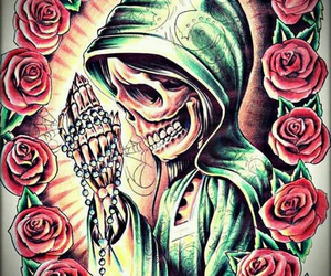 day of the dead, rosary, and roses image