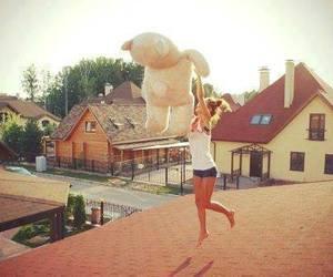 girl, teddy bear, and fun image