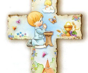 cross, boy kneeling praying, and first communion image
