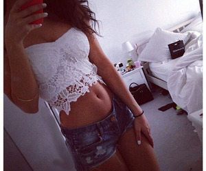 lace, tumblr, and crop top image