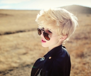 girl, blonde, and short hair image