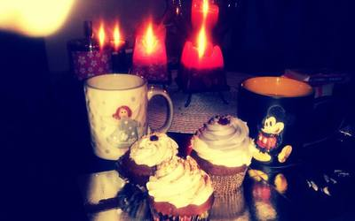 candles, coffee, and sweet cakes image