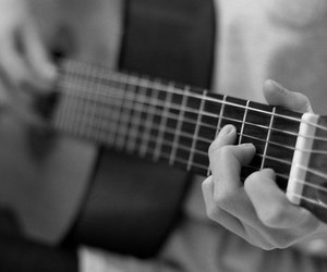 black and white, guitar, and music image