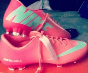 cleats, soccer, and pink image