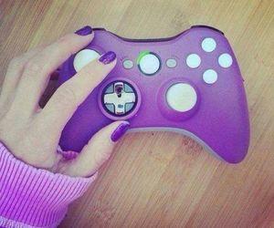 girl, purple, and xbox image