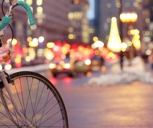 light, city, and bicycle image