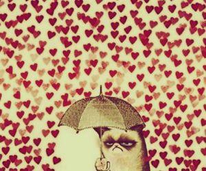hearts, poker face, and rain image