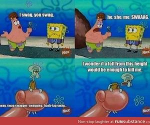 spongebob, funny, and swag image