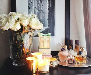 candle, flowers, and rose image
