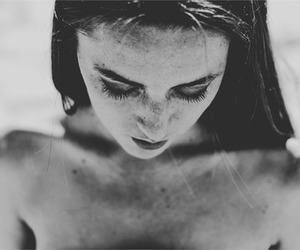 black and white, brunette, and girl image