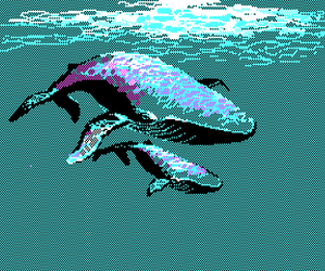 pixel, underwater, and whales image