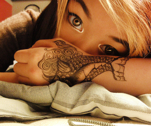 tattoo, girl, and eyes image