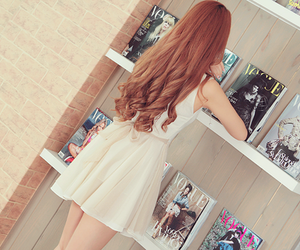 hair, curls, and dress image