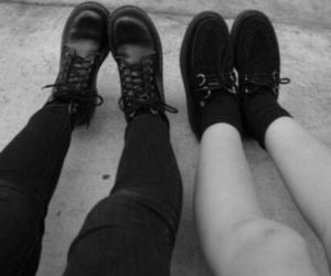 black and white, creepers, and grunge image