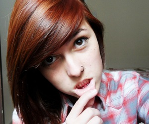girl, piercing, and red hair image