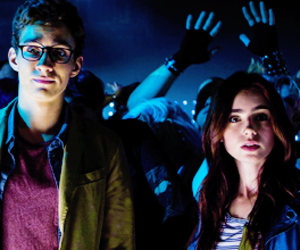 simon, clary, and lily collins image